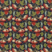 Moda - Voysey by The V&A - 6677 - Reproduction, Perching Birds on Navy - 7325 13 - Cotton Fabric